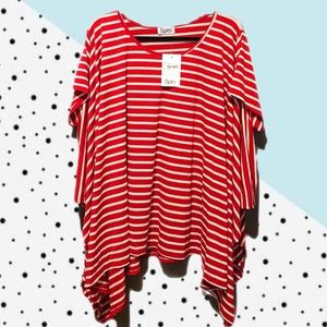 Tops - Jersey t-shirt style poncho, red and white striped